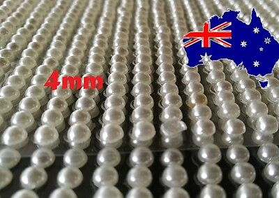 4mm 980 Pcs  Ivory Pearls Gems Self Adhesive Sticker on crystal strip