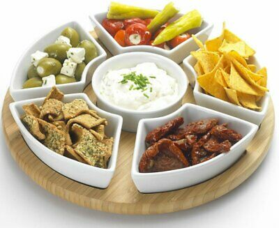 Lazy Susan Rotating Dip Set Serving Platter with Ceramic Dishes