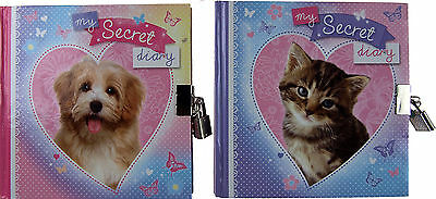 Set  Of 2 Girl's Puppy And Kitten Secret Diary Note Book - With Padlock And Key