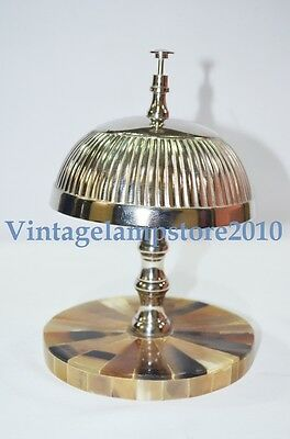 Vintage Hotel Counter Desk Bell Antique Style Ring with Bone Inlay