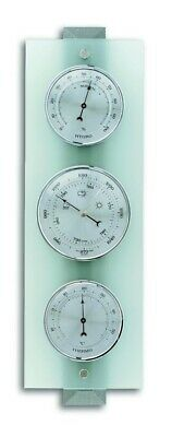 TFA 20.1067.17 Glass 3 Dial Indoor Analogue Weather Station, Grey