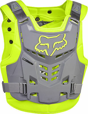 2017 Fox Racing Proframe LC Chest Protector Yellow Grey Neon Roost Guard Adult