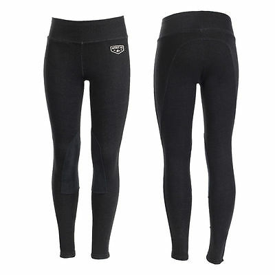 """NEW Horze Kids Knee Patch Riding Tights Black Sizes 22""""-32"""""""