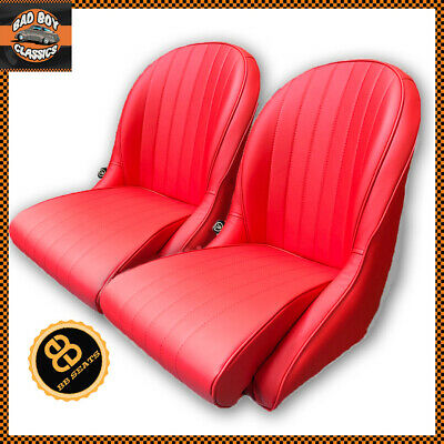 BB Vintage Classic Car Bucket Seats Low Rounded Back RED + Universal Runners