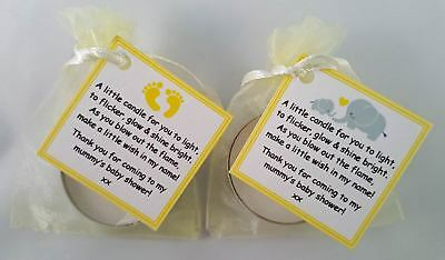 Baby Shower Candle Favours - Vanilla Scented Tealight -Blue Pink Yellow Elephant