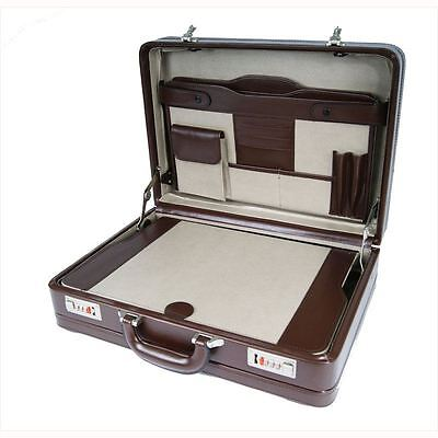 Executive Double Expandable PU Leather Attache Briefcase Travel Case Bag Brown