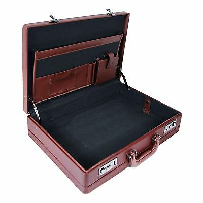 Executive PU Leather Business Briefcase Attache Travel Case Work Bag Brown