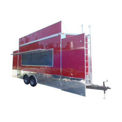 Concession Trailer 8.5' X 16' Red food event catering