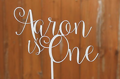 First Birthday Cake Topper Name and Age Solid Wood Luxury