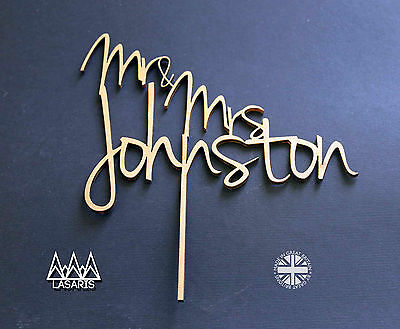 Cake Topper Wedding Surname - Mr and Mrs - Solid Wood