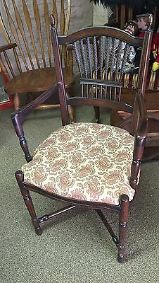 Vintage Dark Wood Stained Wheat Back Dining Chair Armchair Upholstered