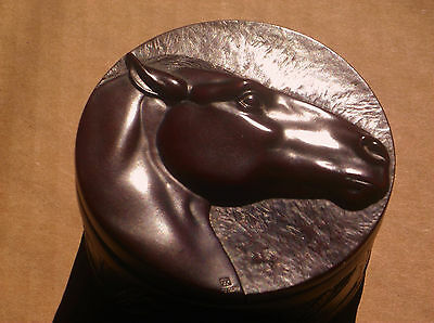 Carved Horse trinket spirit box Native Canadian Resin cast BOMA equestrian signe