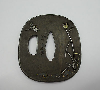 ANTIQUE 19th century TSUBA Signed NAKAGAWA ISSHO with Kao EDO Period MEIJI Era