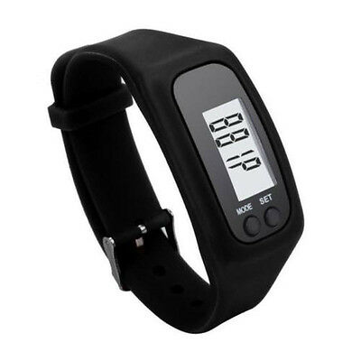 Digital LCD Pedometer Black Silicone Band Time Step Calorie Distance Counter
