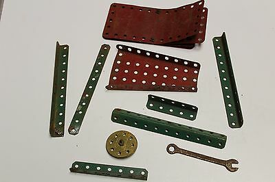 MECCANO 18 pieces Vintage Brass Wheels plates right angles nut bolts 90 years ol