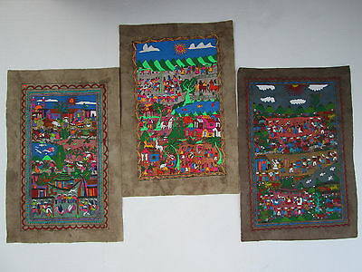 3 AMATE BARK PAINTING SET native ethnic mexican wall  folk art hand painted
