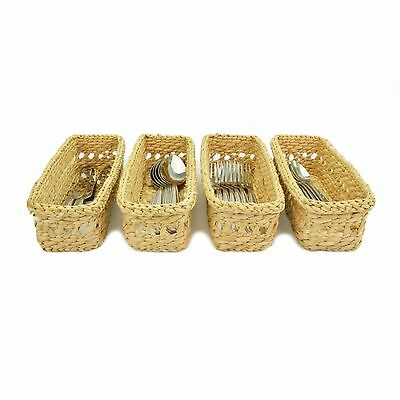 Cutlery Caddy Wicker basket Holder organiser storage tray rack