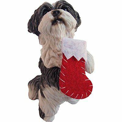sandicast silver and white shih tzu holding stocking christmas ornament