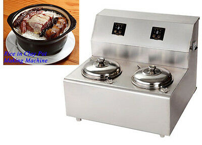 220V Commercial Two Pot Rice in Clay Pot Making Machine Kitchen Cook