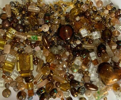 Autumn Brown Bead Mix,Mixed Assorted Beading Beads in Foil,Glass,Metal, Lampwork