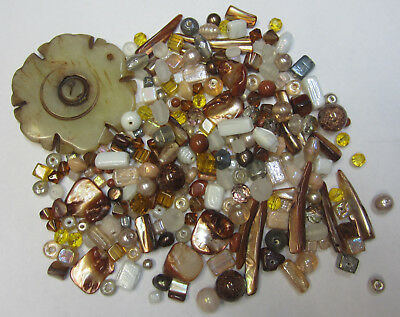 Brown Assorted Bead Mix with Feature Beads, Agate Pendant, Glass, Foils, Pearls