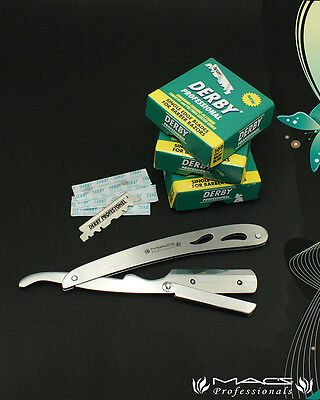STAINLESS STEEL BARBER RAZOR  With Hi-Chromium Derby 300 blades Box W/Free Pouch