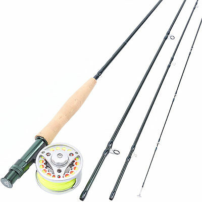 "Fly Rod Combo 4WT 8'6"" Medium-fast Carbon Fly Fishing Rod & Aluminum Reel & Line"