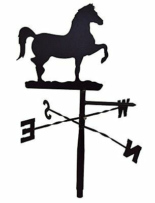 Prancing Horse Weather Vane Topper - Black Metal - For Rooftop, Yard Pole, Barn