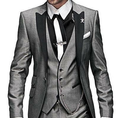Hot Sale Men Grey Wedding Suits Groomsmen Groom Tuxedos Party Prom Business Suit