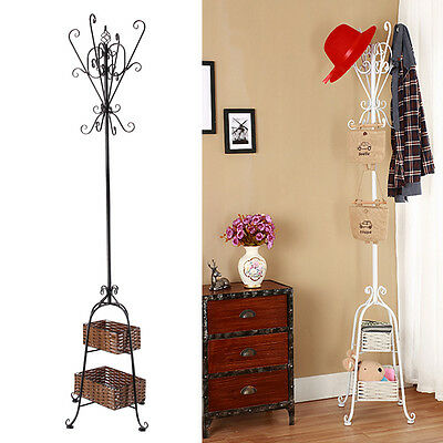 1.8m Vintage Style Metal Hat Coat Pipe Stand Umbrella Hook Rack With 2 Basket