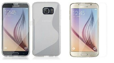 Clear S-Line Tpu Case+Tempered Glass Protector For Verizon Samsung Galaxy S6