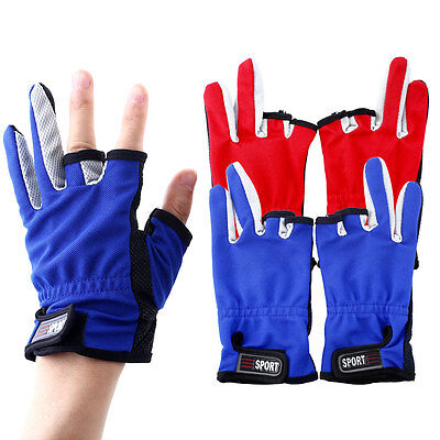 pair ANTI-SLIP 3 Low Fingers Cut Fishing Gloves one size adjustable 20.5 cm Fish