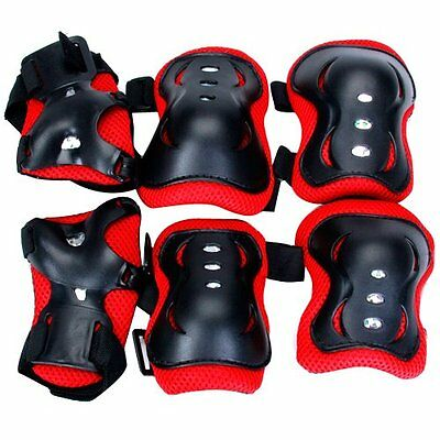 Kid Cycling Role Skating Knee Elbow Wrist Protector Pads - Black and Red LW