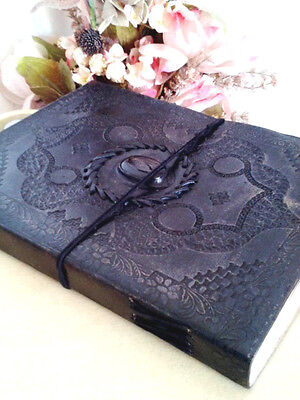 Embossed Black Cat Eye Handmade Journal Artist Gift Book Bound Leather Diary10x7