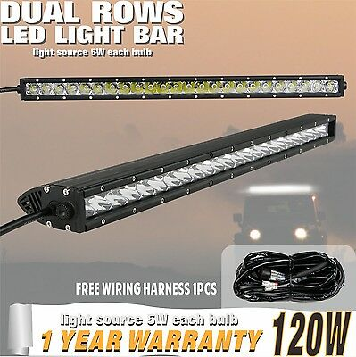 120W Combo 24/25INCH Single Row CREE LED OFFROAD Light Bar 6000k+Wiring Harness