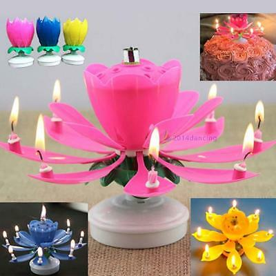 Romantic Musical Lotus Flower Rotate Happy Birthday Party Gift Candle Light EH