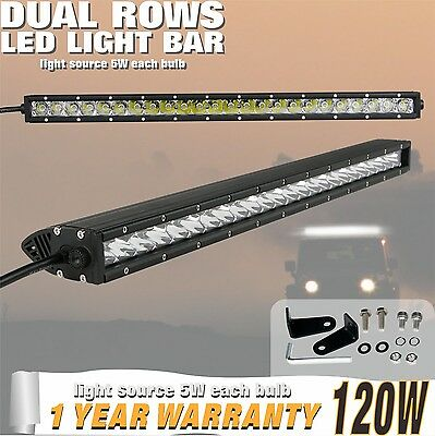 25inch 120W Cree LED Light Bar Stop Flood Combo Beam Single Row Offroad Jeep 12V