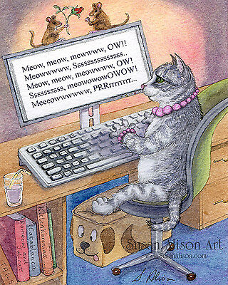 cat 8x10 print writing author novelist writer working on computer Susan Alison