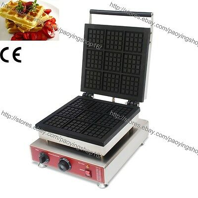 Commercial Nonstick Electric 9pcs Square Belgian Waffle Maker Iron Baker Machine