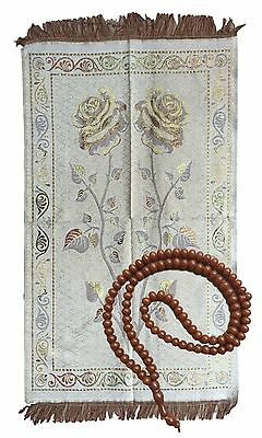 New Prayer Mat & Worry Beads Thin Light Islamic Hajj Mecca Travel Exotic Wall
