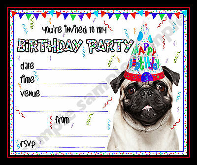 Pug Birthday Party Invitations Unique Birthday Party Ideas And Themes