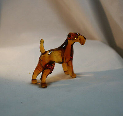 Blown Glass Murano Art Figurine Glass Dog Airedale Terrier