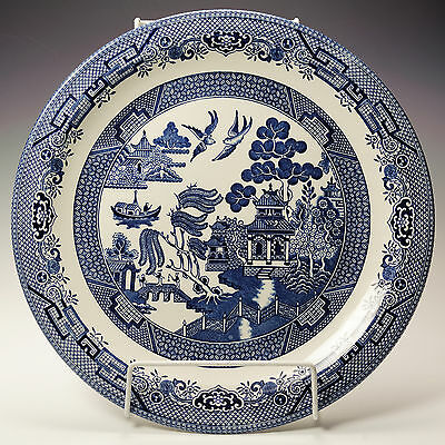 "Churchill Blue Willow 6 Six 12 3/4"" Outsized Dinner / Chop Plates"