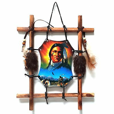 INDIAN WITH HORSES Wall Plaque, Dream catcher, Dreamcatcher in wooden frame