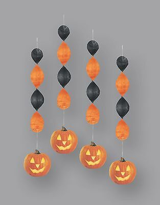"Pumpkin Glow HANGING DECORATIONS 18"" Pack of 4 Halloween Party Supplies"