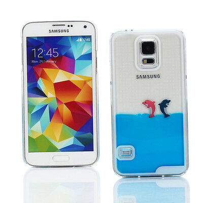 Hard 3D Moving Liquid Case + Car Charger for Samsung Galaxy S5 - Blue Dolphins