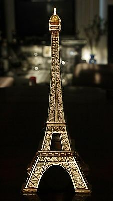Brand New Large Rare Gold Tone Carved Eiffel Tower Paris Landscape Sculpture Nwt