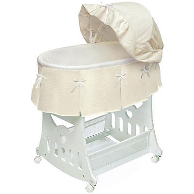 Badger Basket Waffle Pleated Portable Bassinet 'n Cradle with Toybox - Ecru