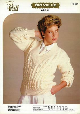 "KC587 LADIES ARAN LACY SWEATER KNITTING PATTERN 32-42""/81-107cm"