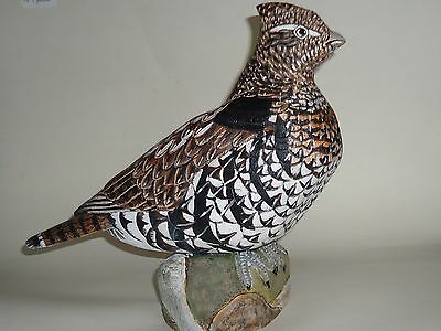 Carved Ruffed Grouse Carving Wooden Bird Partridge